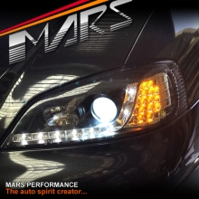 Black DRL LED Projector Head Lights with LED indicators for Holden Astra G 98-04