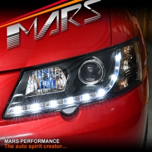 Black DRL LED Projector Head Lights for Holden & HSV Commodore VY