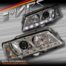 Crystal DRL LED Projector Head Lights for Holden & HSV Commodore VY