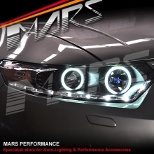 Black LED DRL & CCFL Angel-Eyes Projector Head Lights for Honda Accord Euro 08-13
