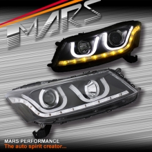Black LED DRL & CCFL Angel-Eyes Projector Head Lights for Honda Accord 08-12