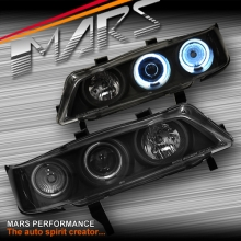 Black CCFL Angel-Eyes Projector Head Lights for Honda Accord 94-97