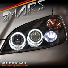 Black CCFL Angel-Eyes Projector Head Lights for Honda Civic Sedan 01-03