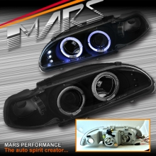 JDM Black Angel-Eyes Projector Head Lights for Honda Civic EG 92-95 Hatch.