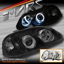 Black CCFL Angel-Eyes Projector Head Lights for Honda Civic EK 96-98