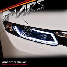 Black 3D DRL Stripe Bar Projector Head Lights for Honda Civic 9th Gen FB Sedan 12-16