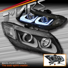 Black 3D DRL Projector Head Lights for Honda Civic 9th Gen FB Sedan 12-16