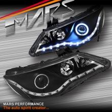Black LED DRL & CCFL Angel-Eyes Projector Head Lights for Honda Civic FD Sedan 06-12