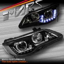 Black LED Day-Time DRL Projector Head Lights for Honda Civic FD Sedan 06-12