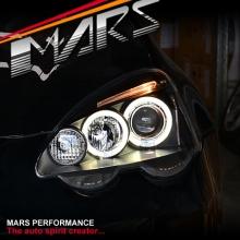 Black Angel-Eyes Projector Head Lights for Honda Integra DC5 01-04