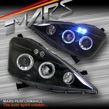 Black LED Angel Eyes Projector Head Lights for Honda Jazz Fit GE 08-11