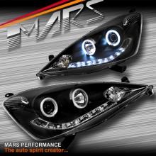 Black LED DRL & CCFL Angel-Eyes Projector Head Lights for Honda Jazz FIT GE 08-11