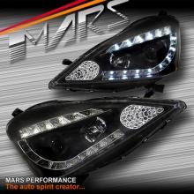 Black LED DRL Projector Head Lights for Honda Jazz Fit GE 08-11