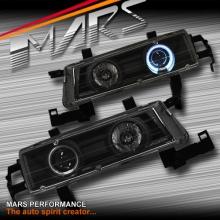 Black CCFL Angel-Eyes Projector Head Lights for Honda Prelude 92-96
