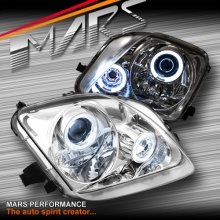 Crystal Clear CCFL Angel-Eyes Projector Head Lights for Honda Prelude 97-01 SN