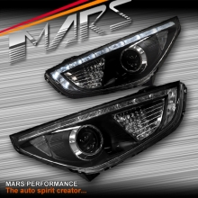 Black DRL Dual Beam Projector Head Lights for Hyundai IX35 LM 10-13