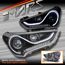 Black 3D Stripe Bar DRL projector head lights with LED indicators for Hyundai Veloster FS 2011-2017