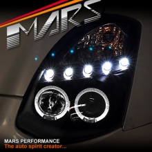 Black LED DRL & Angel Eyes Projector Head Lights for Nissan & Infiniti G35 V35 Coupe