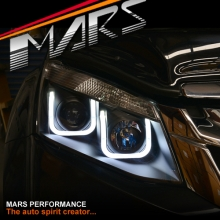Black 3D LED Stripe & Projector Head Lights for ISUZU D-MAX UTE 12-16