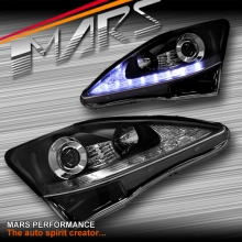 Black LED DRL Day-Time Projector Head Lights with LED Indicators for Lexus IS250 IS350