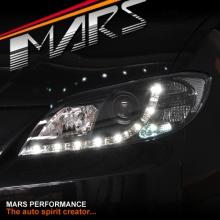 Black DRL LED Projector Head Lights for MAZDA 3 03-09 4 Doors Sedan