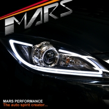Black 3D DRL LED Projector Head Lights for MAZDA 3 09-13 Sedan & Hatch