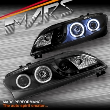 Black DRL LED & CCFL Angel-Eyes Projector Head Lights for Mazda 6 Sedan & Hatch 02-07