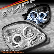 Crystal Clear CCFL Angel Eyes Head Lights for Mercedes-Benz SLK R170 97-04