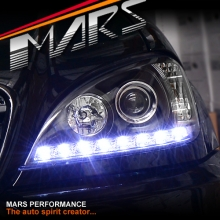 Black LED DRL Day Time Projector Head Lights for Mercedes-Benz ML W163 98-01