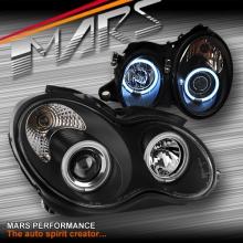 Black CCFL Angel Eyes Projector Head Lights for Mercedes-Benz C-Class W203 Sedan & Wagon