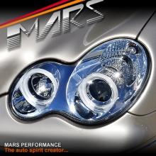 Crystal Clear CCFL Angel Eyes Projector Head Lights for Mercedes-Benz C-Class W203 Sedan & Wagon