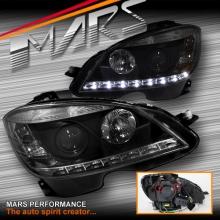 Black LED DRL Projector Head Lights for Mercede-Benz C-Class W204 07-10 Sedan & Wagon