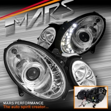 Crystal DRL LED Projector Head Lights for Mercedes-Benz E-Class W211 03-08 (replace factory HALOGEN head lights)