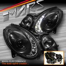 Black DRL LED Projector Head Lights for Mercedes-Benz E-Class W211 03-08 (replace factory HID/Xenon head lights)
