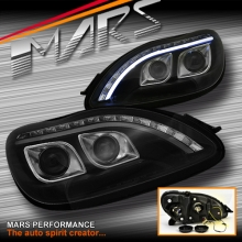 Black 3D LED Stripe DRL Projector Head Lights for Mecedes-Benz S Class W220 98-05 with LED Indicators