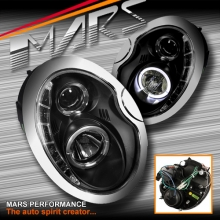 Black LED DRL Projector Head Lights for Mini Cooper & Cooper S 01-06