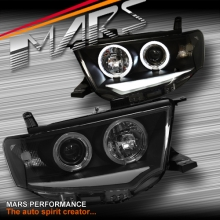 Black 3D DRL & Angel Eyes Projector Head Lights for MITSUBISHI Challenger PB PC 08-13