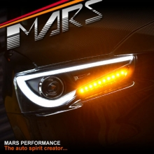Black 3D Stripe LED DRL Bar Projector Head Lights for Mitsubishi Lancer CJ CF & EVO X 07-17