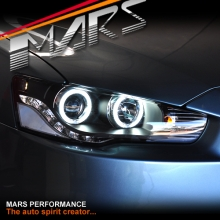 JDM Varis LED DRL & CCFL Projector Angel Eyes Head Lights for Mitsubishi Lancer CJ & EVO X 07-17
