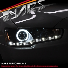 Black LED DRL & CCFL Projector Angel Eyes Head Lights for Mitsubishi Lancer CJ CF & EVO X 07-17