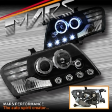 Black High power LED Angel Eyes Projector Head Lights for Mitsubishi Pajero 00-06 NP NM