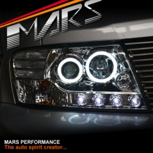 Crystal Clear LED High Power Angel Eyes Projector Head Lights for Mitsubishi Pajero 00-06 NP NM