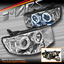 Crystal Clear CCFL Angel Eyes Projector Head Lights for Mitsubishi Triton ML MN 06-15