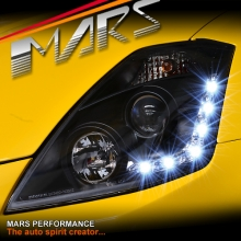 JDM Black LED DRL Projector Head Lights for Nissan Z33 350Z 03-05 Series 1