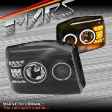 Black CCFL Angel-Eyes Projector Head Lights with LED Indicators for Nissan Navara D22 03-14
