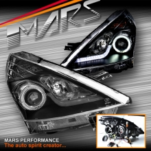 Black LED DRL & CCFL Angel Eyes Projector Head Lights for NISSAN Pulsar C12 Hatch 13-16