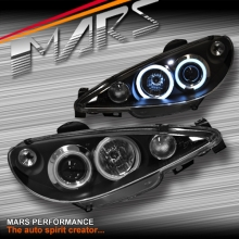 Black CCFL Angel Eyes Projector Head Lights for Peugeot 206 206CC