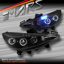 Black Angel Eyes Projector Head lights for Peugeot 207 A7 Hatch Wagon