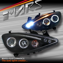 Black Angel Eyes Projector Head Lights for Peugeot 307