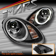 Black DRL LED Projector Head Lights for Porsche Boxster & Cayman 987 05-08 Series 1